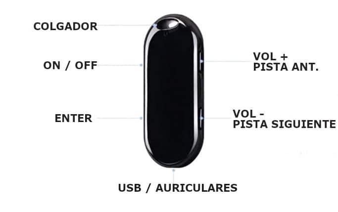 imagen de los botones de la mini grabadora 30 horas