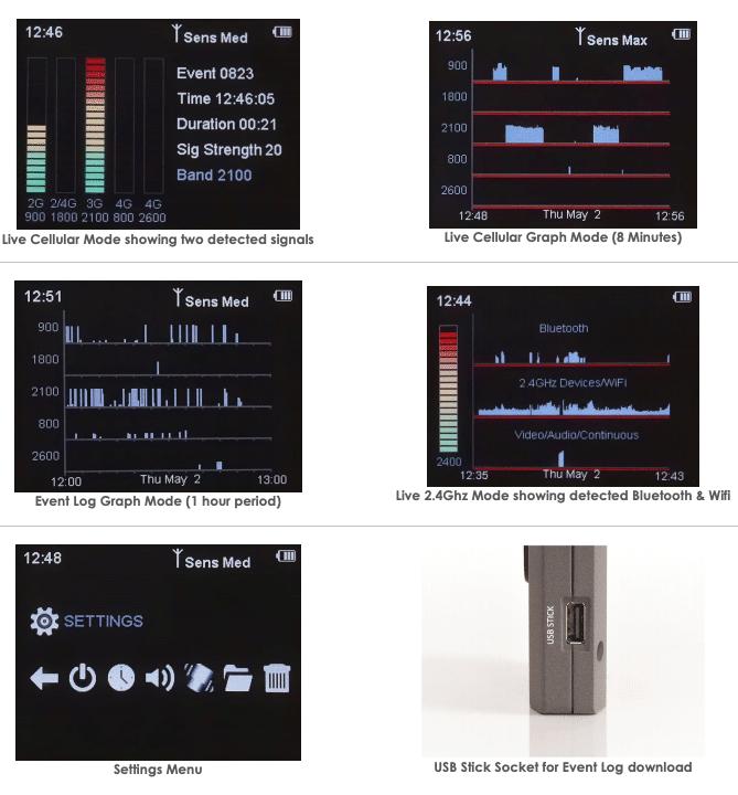 capturas de pantalla pantallas del detector de frecuencias cam-105w